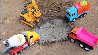 Cement mixer truck, Dump truck, Excavater, Construction vehicles at work
