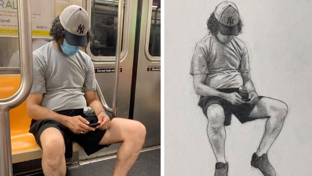 Artist Draws Realistic Portraits of Strangers On Subway