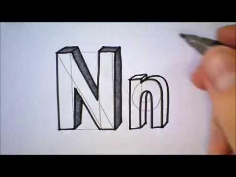 Wonderlijk How to draw the letter N in 3D   Hoe teken je de letter N in 3D BU-64