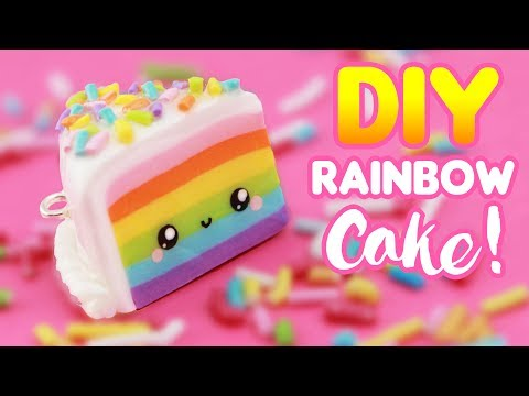 DIY Cute RAINBOW CAKE Charm - Polymer Clay | KAWAII FRIDAY