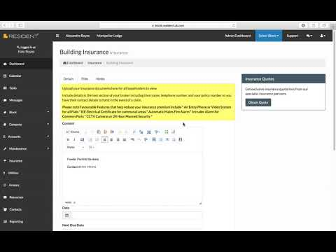 Insurance Section in SELF Block Management Software - a video guide