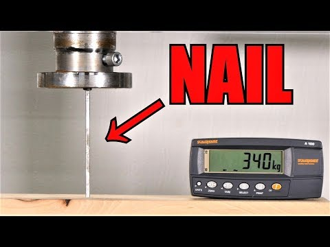 How Hard It Is To Push Nail into Wood? | Hydraulic Press Test!