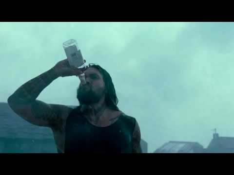 Jason Momoa as Aquaman Drinks Whiskey HD Scene - Justice League