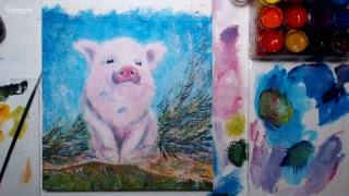 Рисуем свинку - символ года (гуашь)