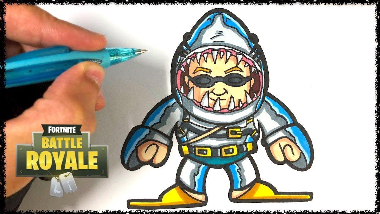 Comment dessiner le requin fortnite tuto youtube - Dessin requin facile ...