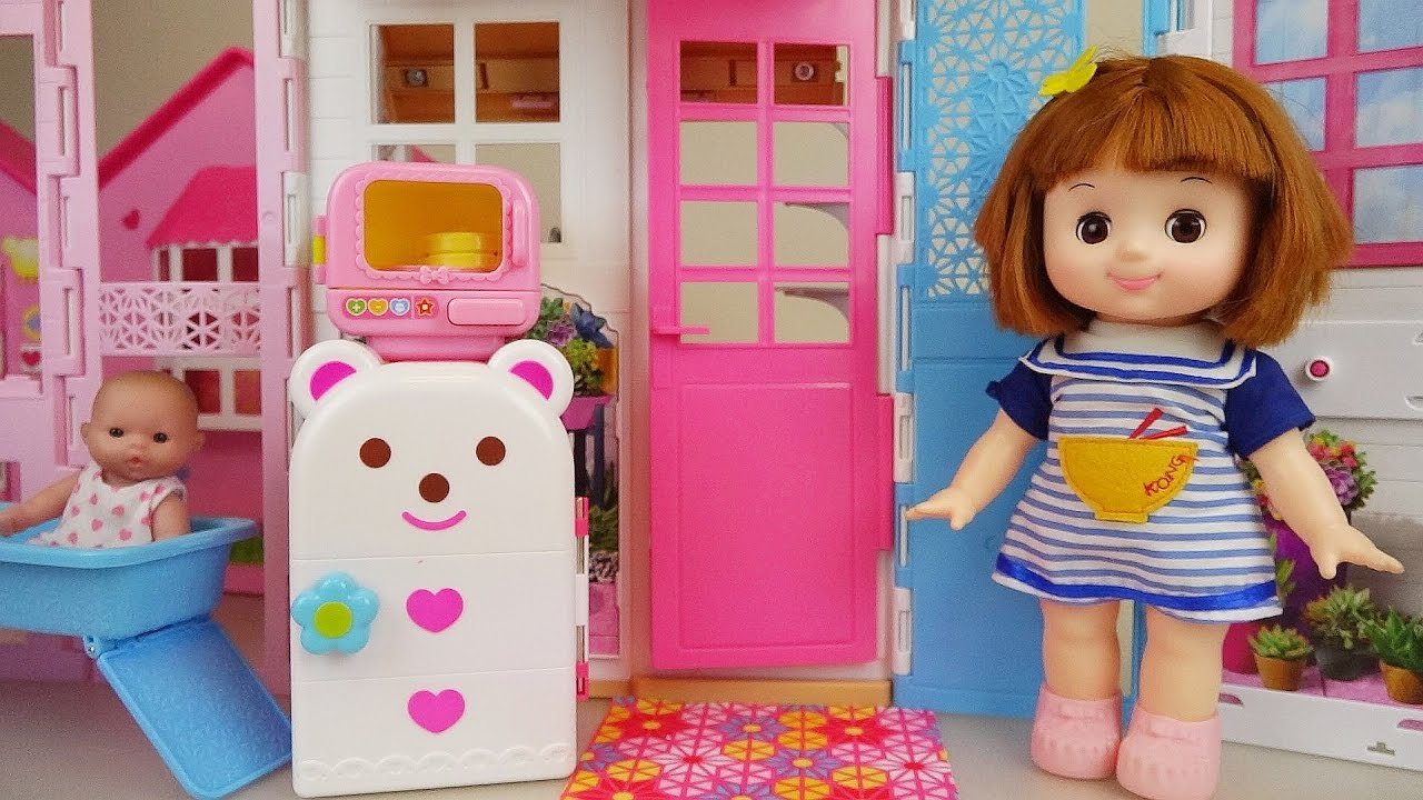 Baby doll house - Kitchen and bath toys play baby sitter - YouTube