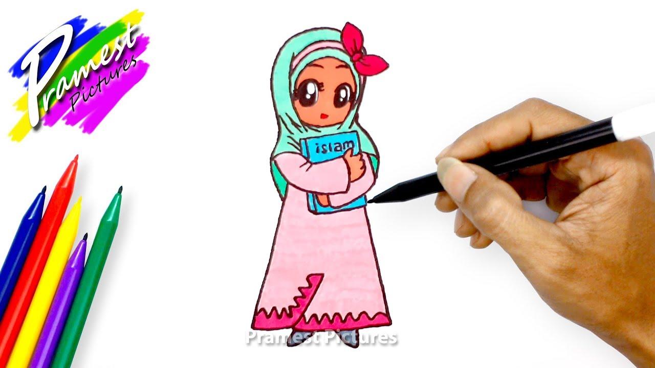 Muslimah Cara Menggambar Dan Mewarnai Untuk Anak Anak Youtube