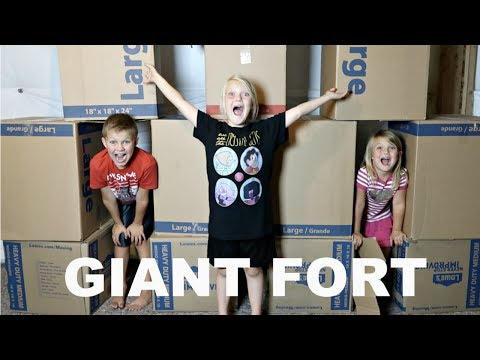GIANT BOX FORT CHALLENGE!!!