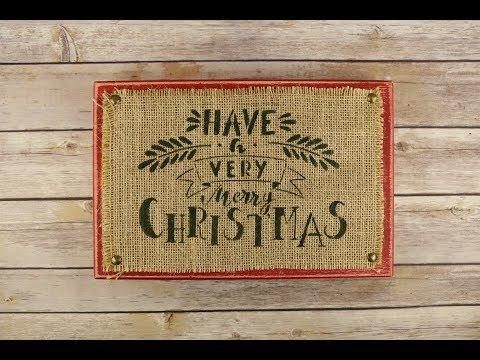 Stenciling Christmas Burlap Decor