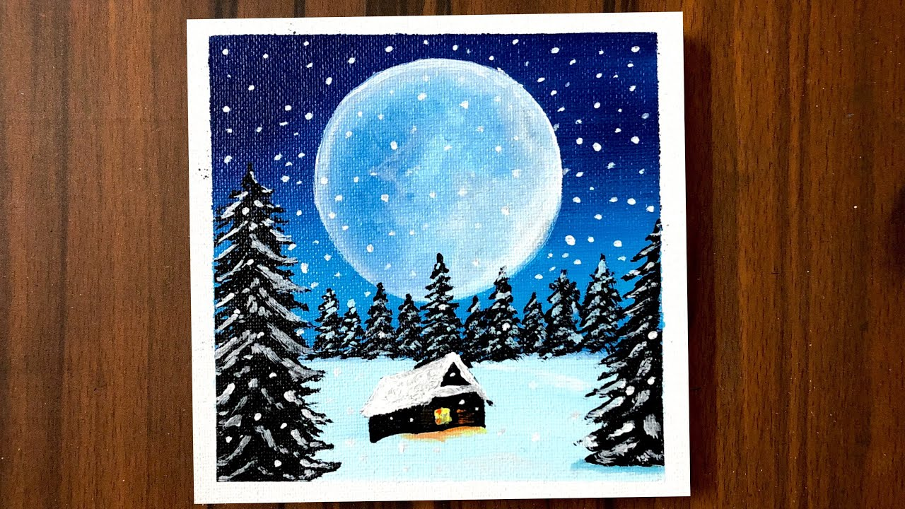 Short Video | Acrylic Painting of Snowy Winter Night