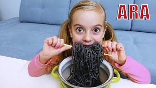 Ulya وامها تطبخ بورورو بلاك نودل