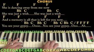 Gypsy (Fleetwood Mac) Piano Lesson Chord Chart with On-Screen Lyrics