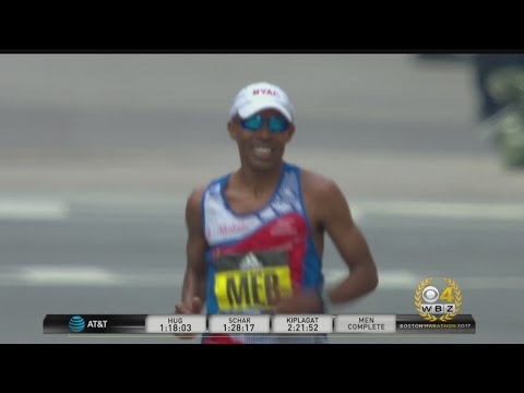 Crowd Cheers As Meb Crosses Boston Marathon Finish Line For The Last Time