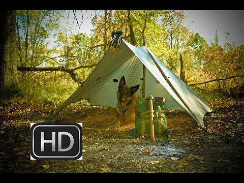 HD Bushcraft Video; Tarp Shelter, Lunch, Fire, Wood Collection and a new Bushcraft Knife