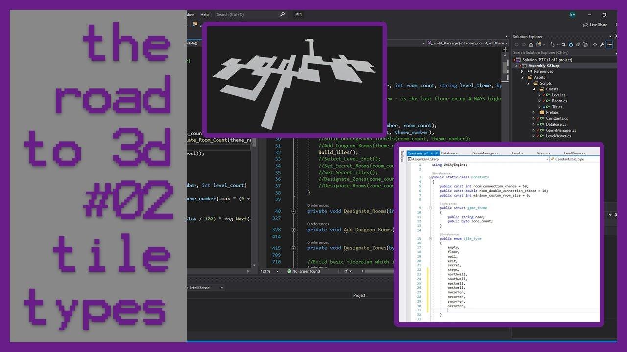 Road to 3d #02 | Live Programming | C# Unity3d Game Dev | Tile Based Rogue-like | Tile Types Enum