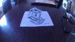 Как нарисовать 3D куб  How to draw 3D Cube(Рисуем куб в 3D карандашами. Если тебе понравилось видео, тогда подписывайся на мой канал и ставь лайк под..., 2016-07-30T21:42:17.000Z)