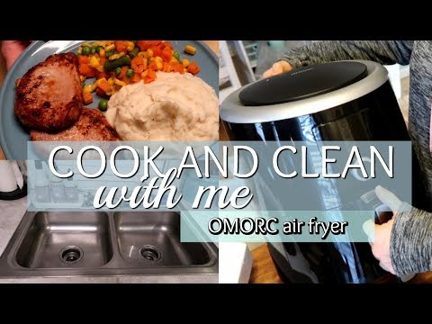 COOK AND CLEAN WITH ME // OMORC AIR FRYER REVIEW
