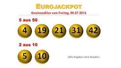 Eurojackpot Gewinnzahlen Ziehung vom Freitag 8.7.2016