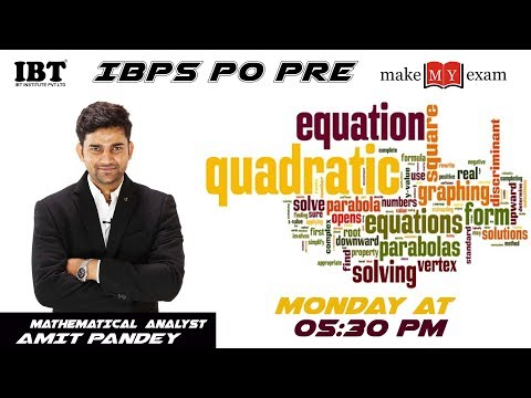 Quadratic Equations | IBPS PO PRE & RRB Mains | Day-1 | By: Amit Pandey|