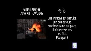 Gilets Jaunes  Paris - Cops Ignore Car Burner