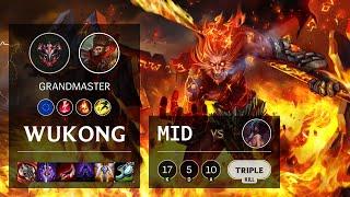 Wukong Mid vs Akali - EUW Grandmaster Patch 10.21