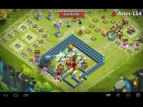 Corner Base Setup Beating Aries Level 14  Castle Clash
