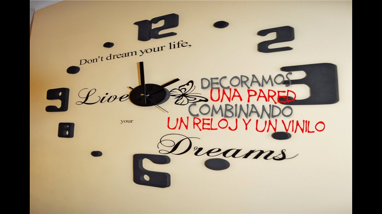 Diy decoramos una pared con reloj y vinilo youtube - Pegar vinilo en pared ...