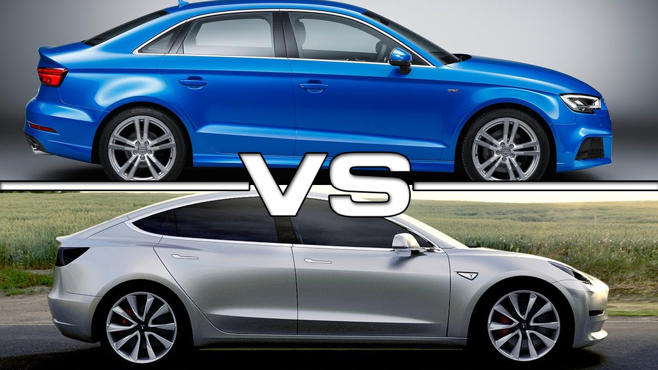 2017 audi a3 sedan vs 2017 tesla model 3 youtube. Black Bedroom Furniture Sets. Home Design Ideas