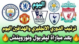 ترتيب الدوري الانجليزي اليوم والهدافين