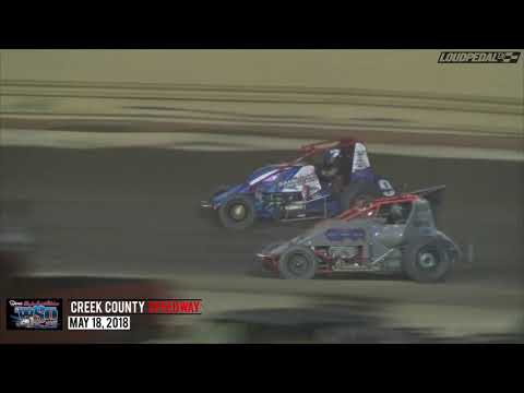 USAC Wingless Sprints Oklahoma Feature Highlights | Creek County Speedway 5.18.18