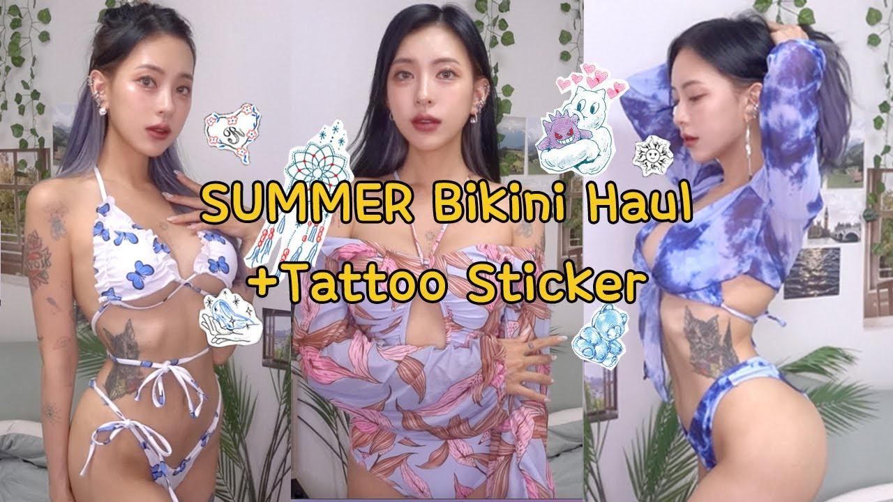 [여름 트렌드] 이거면 올여름 끝 ✨타투스티커&수영복✨하울 (SUB) Swim Suit Haul + Sticker Tattoos