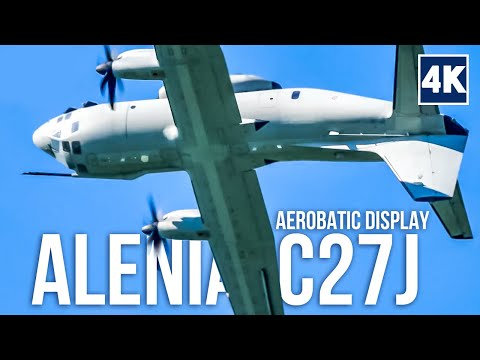 Only Skilled ITALIAN PILOTS can do AEROBATICS with Alenia C27J Spartan MILITARY TRANSPORT AIRCRAFT