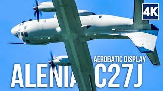 alenia c27j spartan military transport aircraft do impressive aerobatic display at airpower 2016