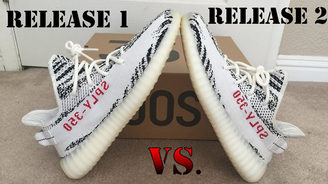 90c6a216b97299 Yeezy Zebra Release 1 Vs Release 2  Differences - YouTube