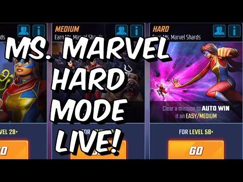 Ms. Marvel Hard Mode Event Live! - Jerseys Finest Playthrough - Marvel Strike Force