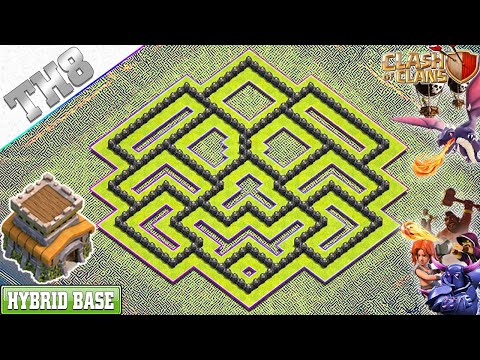NEW BEST! Town Hall 8 (TH8) HYBRID Base 2019 With REPLAY!! TH8 Base With COPY LINK - Clash Of Clans