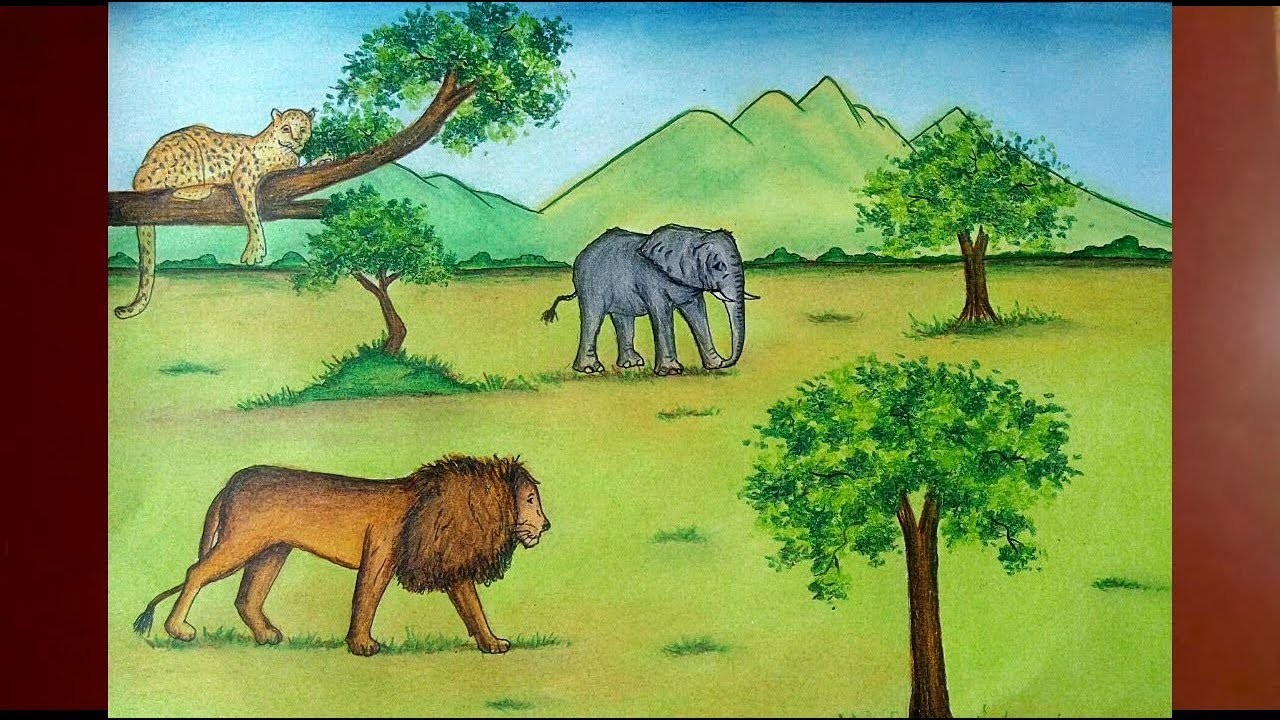 How To Draw A Jungle Scenery With Animals Step By Step Jungle