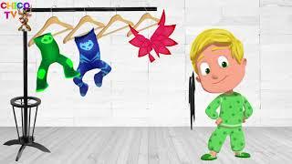 有趣的外國人舞蹈與PJ面具學習顏色和歌曲的孩子奇科電視null