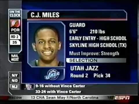 C.J. Miles - 2005 NBA Draft - Pick #34
