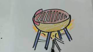 How to sketch a Barbecue? drawing, sketch, art lessons, quick draw lessons for kids