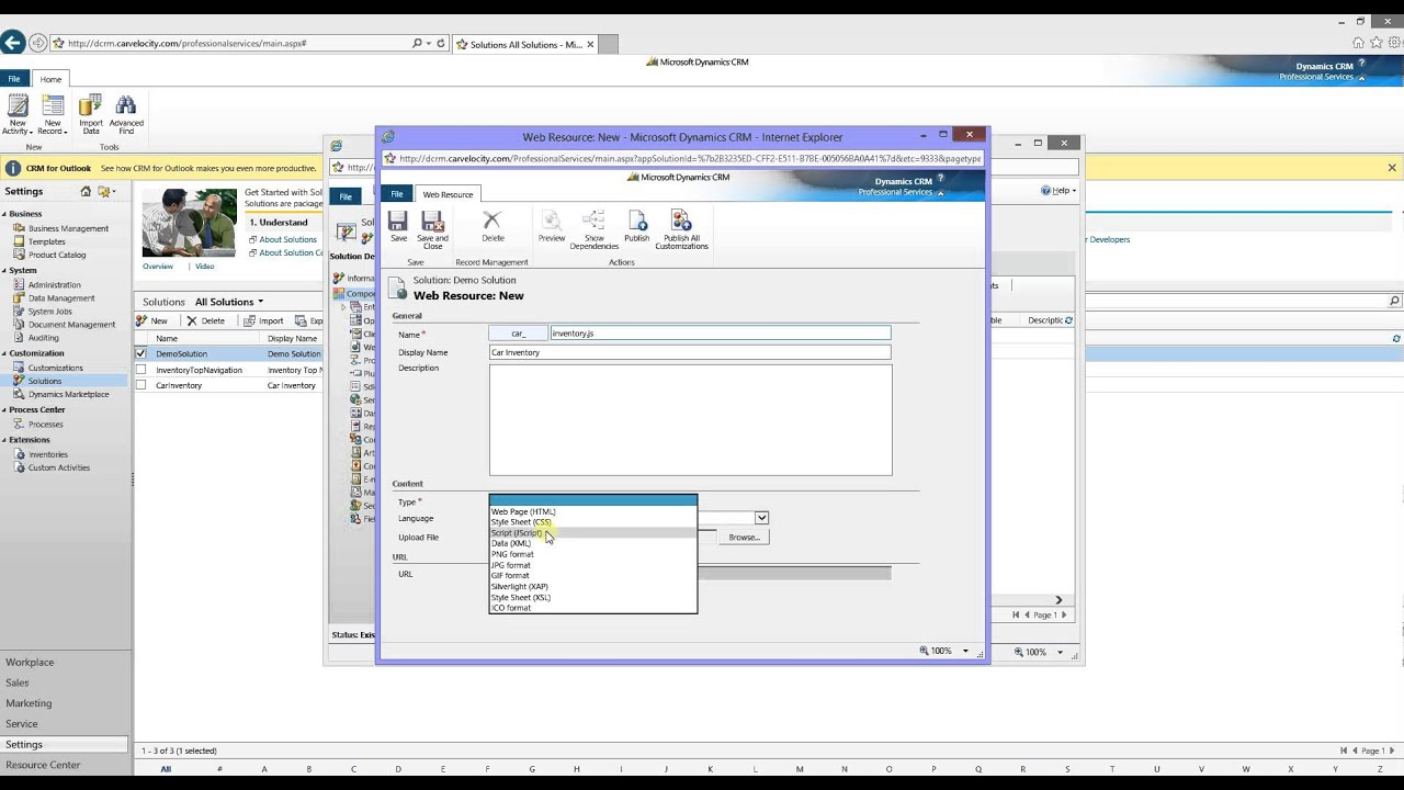 How to add a javascript web resource to CRM solution?