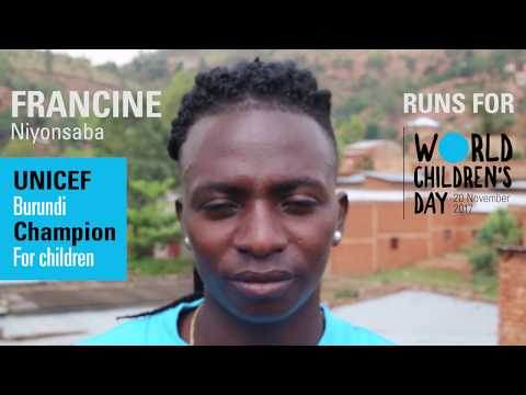 Francine Niyonsaba, runs for children | UNICEF Burundi