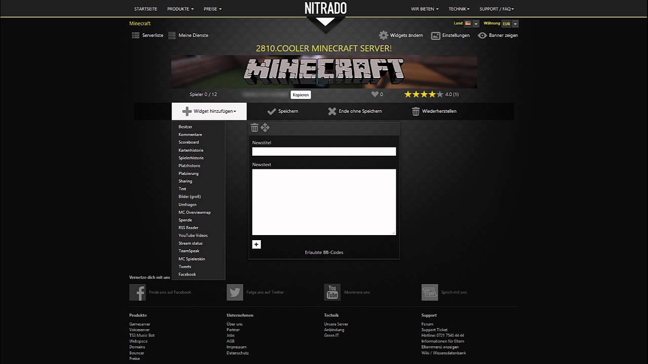 Nitrado Serverprofil Tutorial YouTube - Minecraft nitrado server gruppen erstellen