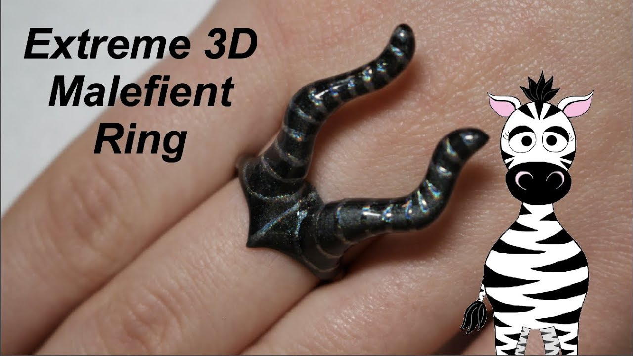 Extreme 3D Maleficent Ring Acrylic Nail Art Tutorial | Beauty Big ...