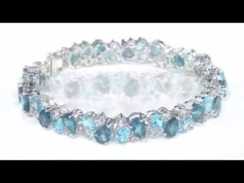 White and Blue Topaz Bracelet 26.76 Carats...