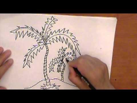 HOW TO DRAW PALM TREE  APRENDE A DIBUJAR Y COLOREAR PALMERAS