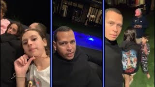 Alex Rodriguez Chills With Family and Friends Watching The Game
