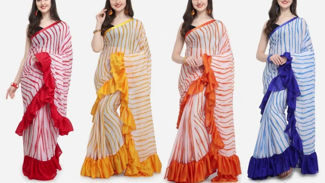 Download Latest Stylish Ruffle Saree Design Collection || Ruffle Saree Designs - Indian Fashion Trends