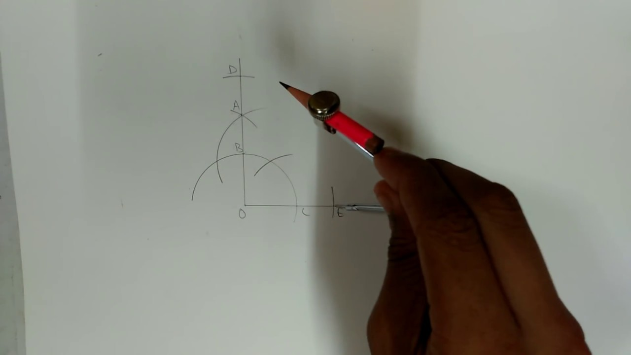 how to draw 55 degree angle with compass