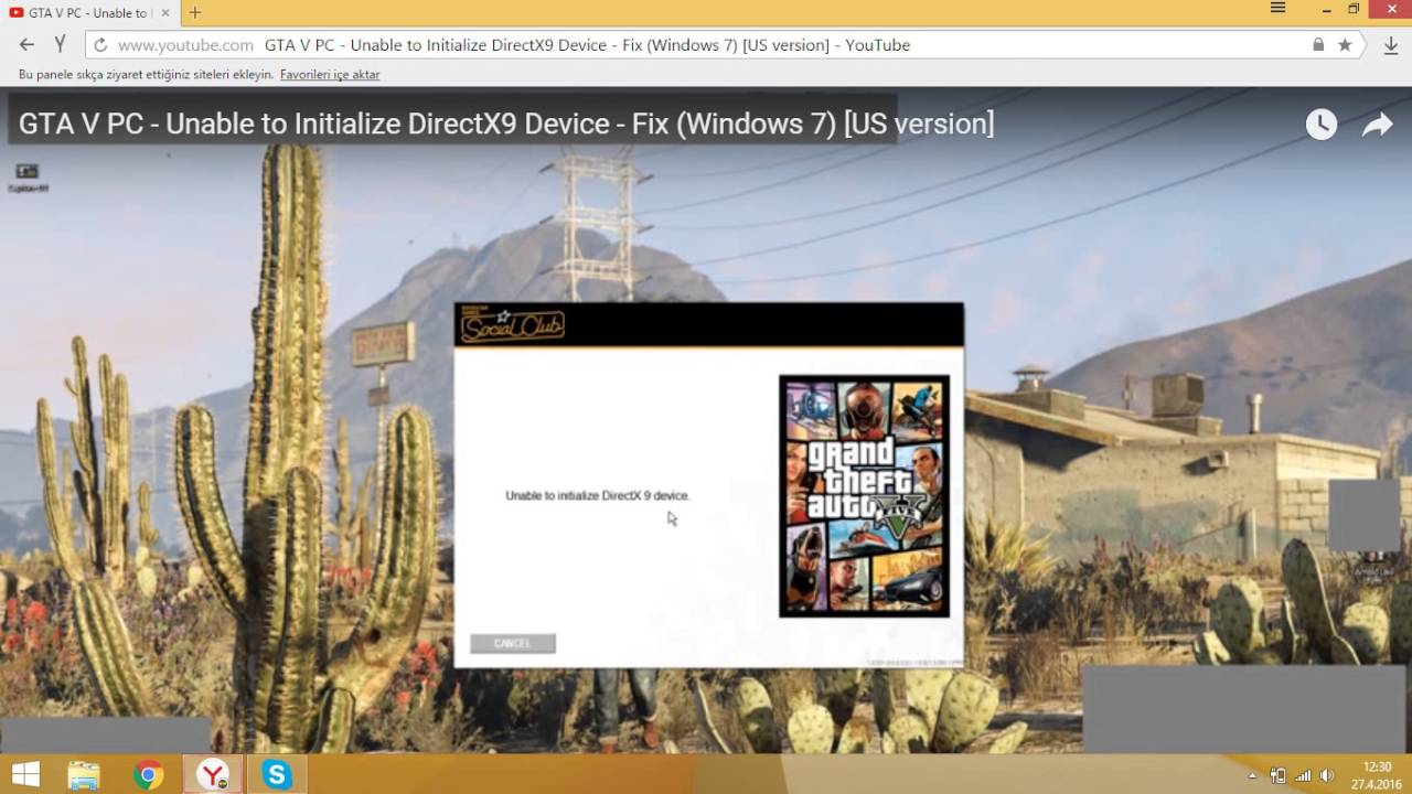 gta san andreas directx 9 hatası windows 10